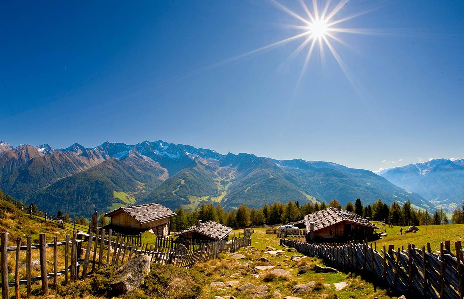Wonderful view in the South Tyrolean Dolomites in summer, the sun is shining bright.
